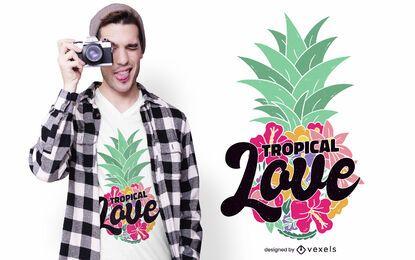 Diseño de camiseta de amor tropical