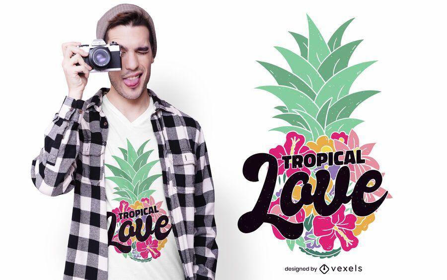 Design de camiseta tropical amor