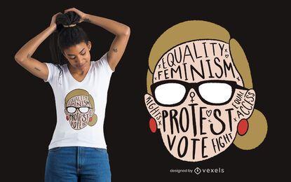 Diseño de camiseta de mujer feminista.