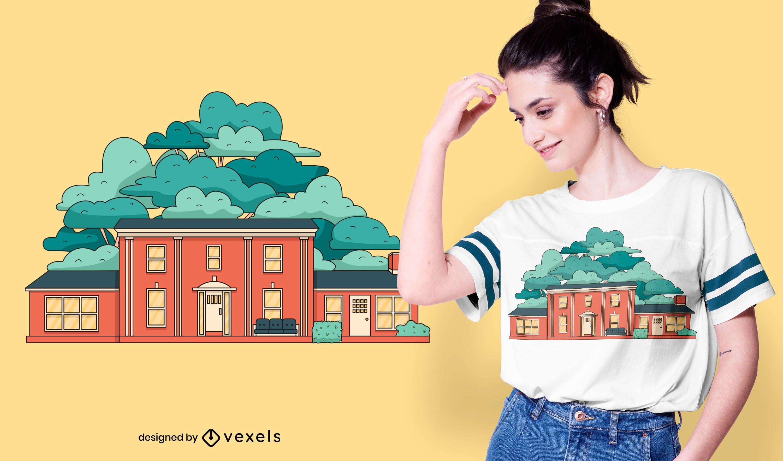 Diseño de camiseta de casa de fraternidad