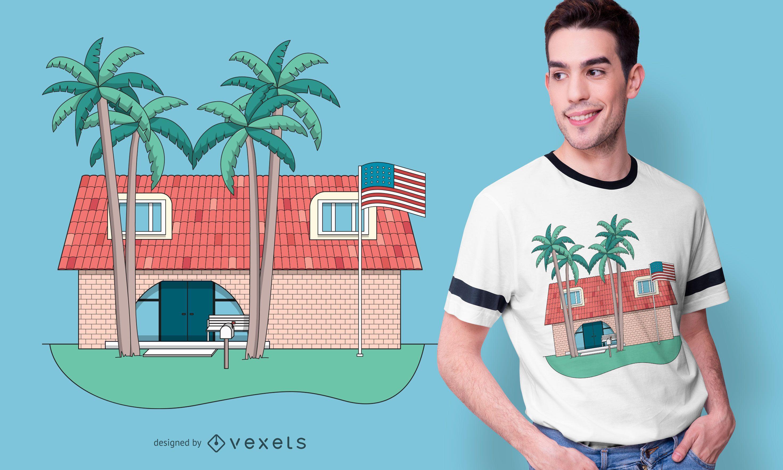 Diseño de camiseta de casa de fraternidad tropical