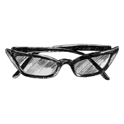 Cat eye shaped glasses sketch