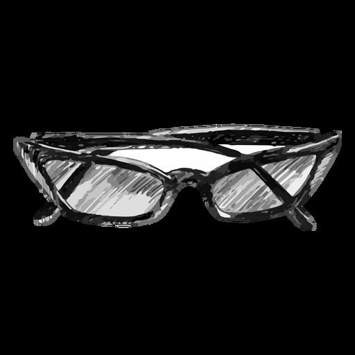 Cat eye shaped glasses sketch Transparent PNG