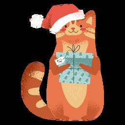 Gato con ilustración de elementos de Navidad