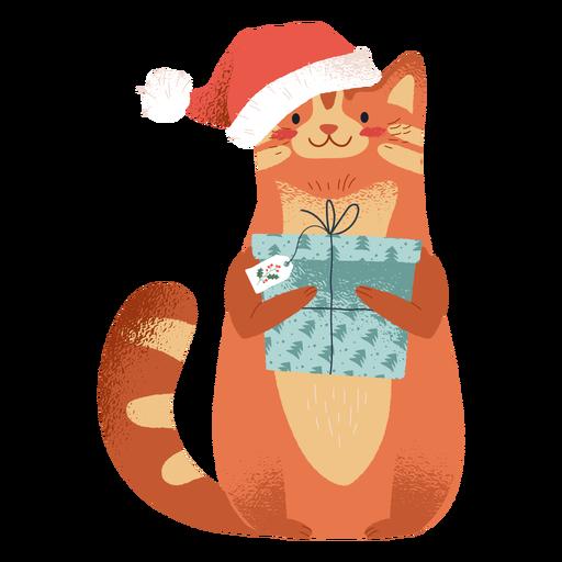 Gato con ilustración de elementos navideños