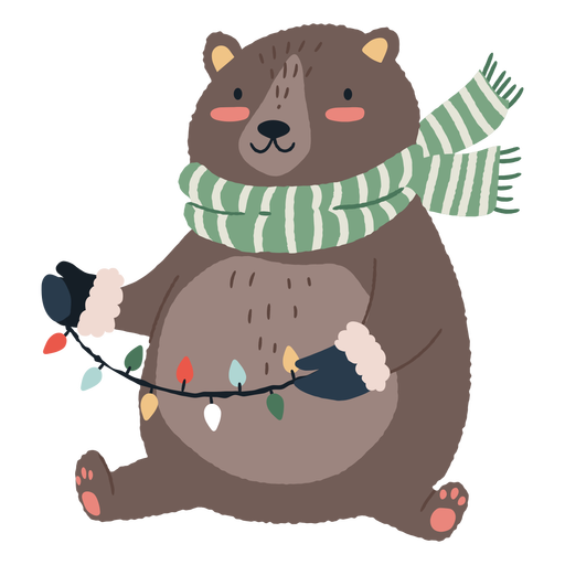 Christmas bear cute illustration Transparent PNG