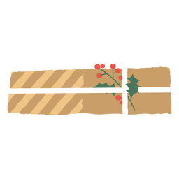 Regalo de sobre navideño y muérdago