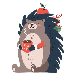 Ilustração de ouriço de natal fofo