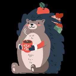 Linda ilustración de erizo de Navidad