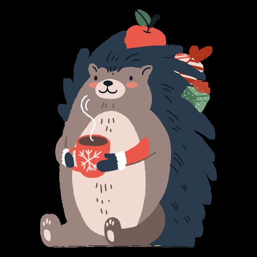 Cute christmas hedgehog illustration Transparent PNG