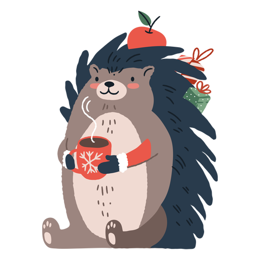 Linda ilustración de erizo de Navidad Transparent PNG