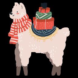 Linda llama de Navidad con ilustración de regalos