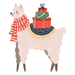 Linda llama navideña con ilustración de regalos