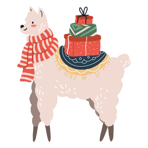Cute christmas llama with gifts illustration Transparent PNG