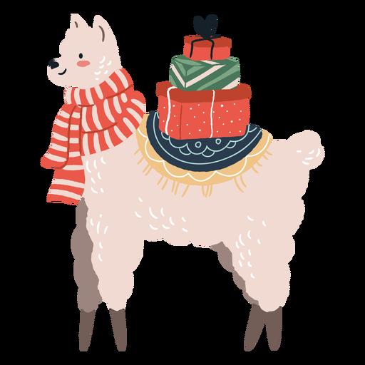 Linda llama de Navidad con ilustración de regalos Transparent PNG