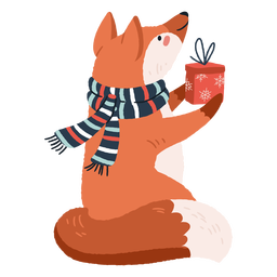 Cute fox carrying presents illustration