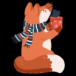 Raposa fofa carregando presentes ilustração