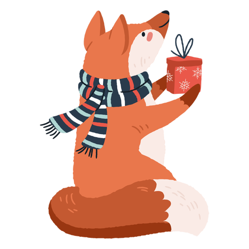 Cute Fox Carrying Presents Illustration Transparent Png Svg Vector File