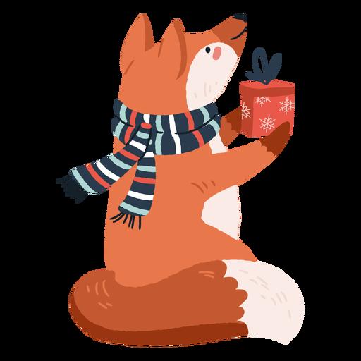 Lindo zorro con ilustración de regalos
