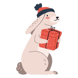 Cute rabbit carrying presents
