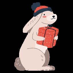 Lindo conejo llevando regalos