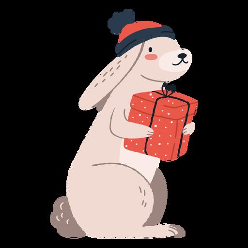 Cute rabbit carrying presents