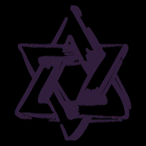 Traço de símbolo judeu da estrela de David