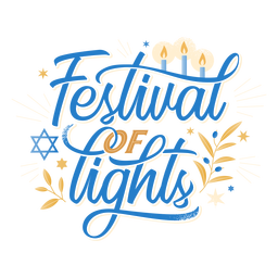 Festival of lights hanukkah lettering