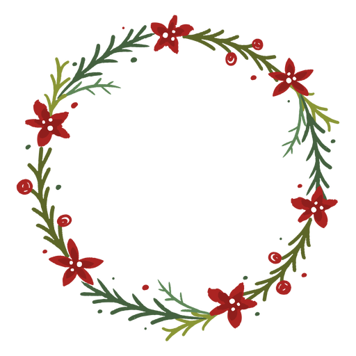 Flowery christmas wreath Transparent PNG