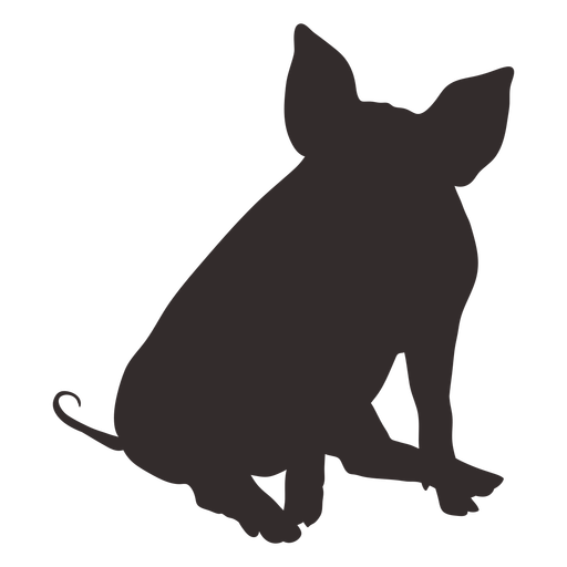 Front view sitting pig silhouette
