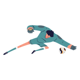 Ilustración de personaje de portero atrapando pelota