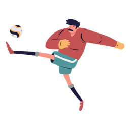 Goalkeeper kicking ball character