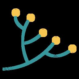 Diseño plano de la planta de rama de olivo de Hanukkah