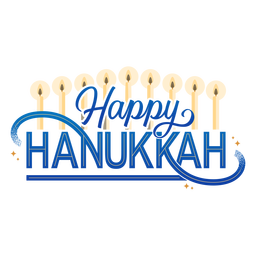 Happy hannukah candles lettering