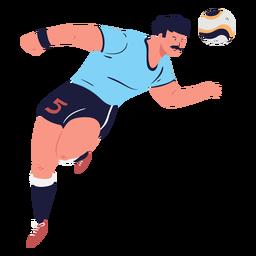 Personaje de jugador de fútbol de encabezado