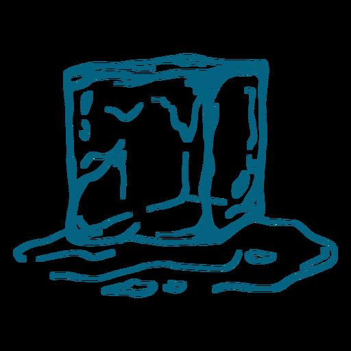 Ice cube melting stroke design Transparent PNG
