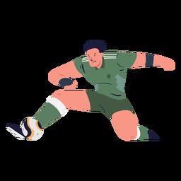 Jugador de fútbol masculino pateando la pelota ilustración