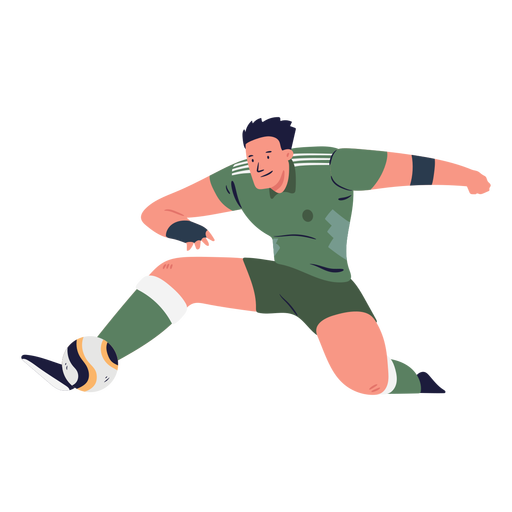 Male soccer player kicking ball ilustration