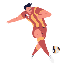 Male soccer player passing ball