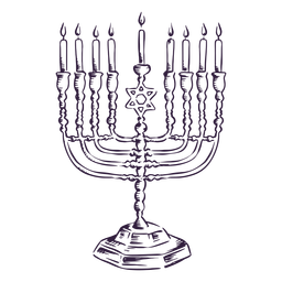 Projeto de traço de menorá Hanukkah