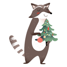 Racoon animal christmas elements illustration