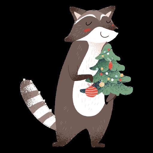 Ilustración de elementos de navidad animal mapache