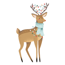 Rena, natal, animal bonito, ilustração
