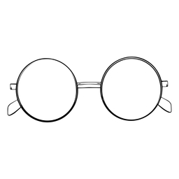 Round shaped design glasses hand drawn
