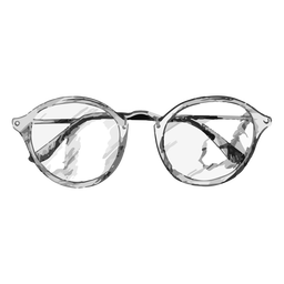 Rounded glasses sketch design