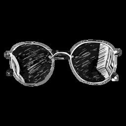 Diseño de boceto de gafas de sol redondeadas