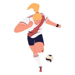 Running woman cartoon soccer player
