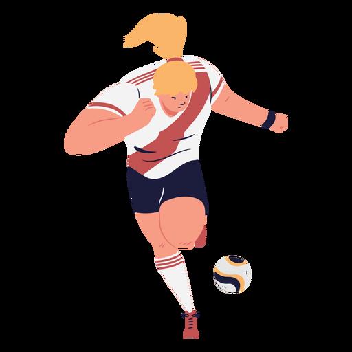 Running woman cartoon soccer player