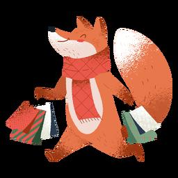 Ilustración linda del zorro de compras