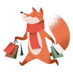 Shopping fox cute illustration